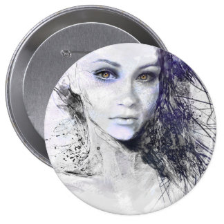 Girl Face Eyes Hair Drawing 4 Inch Round Button