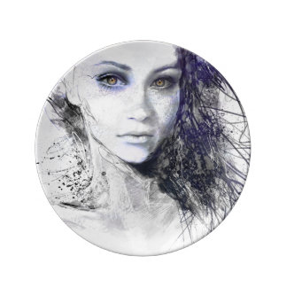 Girl Face Eyes Hair Drawing Porcelain Plates