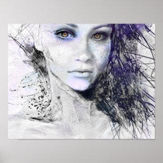Girl Face Eyes Hair Drawing Poster
