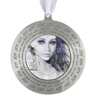 Girl Face Eyes Hair Drawing Round Pewter Ornament