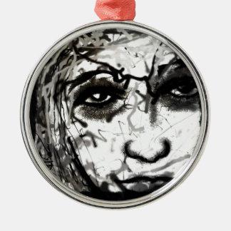 Girl Face Silver-Colored Round Ornament