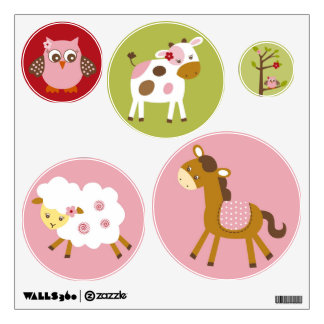 Girl Farm Animal Nursery Wall Stickers Decals