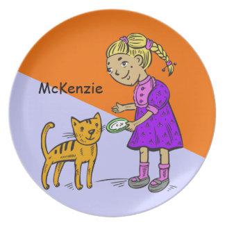 Girl Feeding Cat Plates