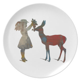 Girl Feeding Deer Party Plate