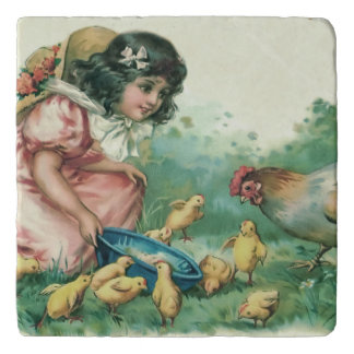 Girl Feeding Easter Chick Hen Trivet