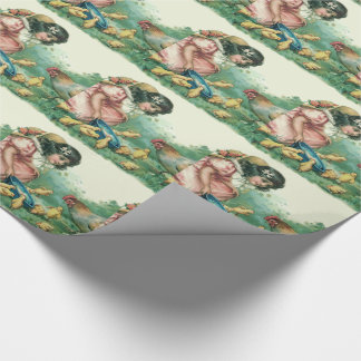 Girl Feeding Easter Chick Hen Wrapping Paper