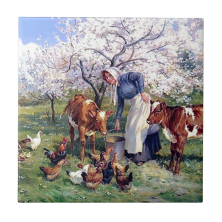 Girl Feeding Farm Animals Painting Tile
