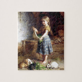 Girl feeding Rabbits Bunnies painting Jigsaw Puzzle