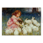 Girl feeding Rabbits Card