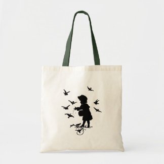 Girl Feeding The Birds Budget Tote Bag