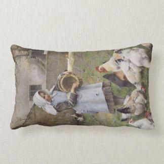 Girl feeding the chickens lumbar pillow