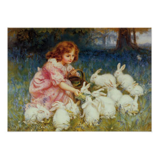 Girl feeding White Rabbits Poster