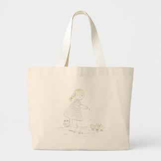 Girl Feeds the Birds Canvas Bags