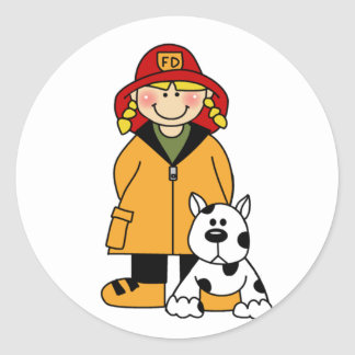 Girl Firefighter With Dalmation Tshirts and Gifts Round Sticker