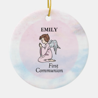 Girl, First Communion Angel Ceramic Ornament