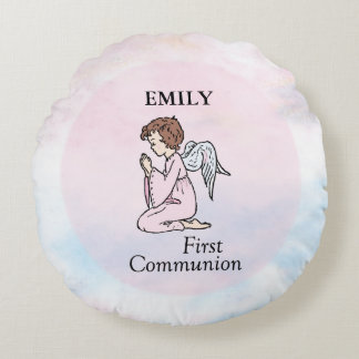 Girl, First Communion Angel Round Pillow