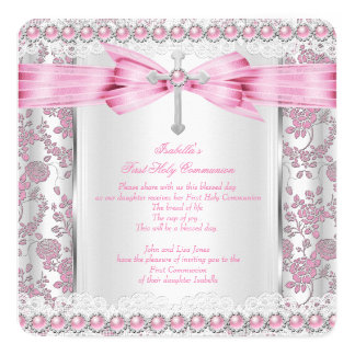 "Girl First Holy Communion Cross Damask Pink Silver 5.25"" Square Invitation Card"