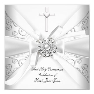 "Girl First Holy Communion Damask White Silver 5.25"" Square Invitation Card"