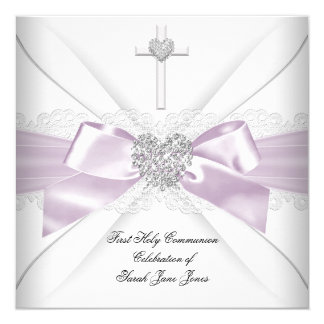 "Girl First Holy Communion Lilac Pink Silver Heart 5.25"" Square Invitation Card"