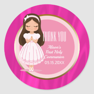 Girl First Holy Communion Pink Gold Classic Round Sticker