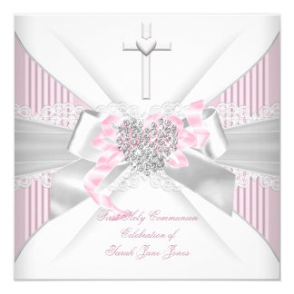 "Girl First Holy Communion Pink White Gray Heart 2 5.25"" Square Invitation Card"