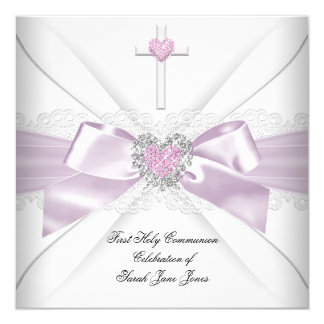 "Girl First Holy Communion Pink White Heart Order 5.25"" Square Invitation Card"