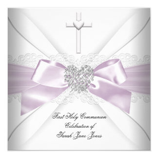 "Girl First Holy Communion Pink White Silver Heart 5.25"" Square Invitation Card"