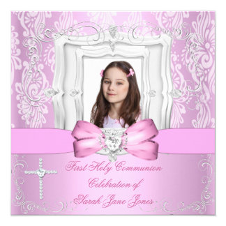 "Girl First Holy Communion Pretty Pink Photo 5.25"" Square Invitation Card"