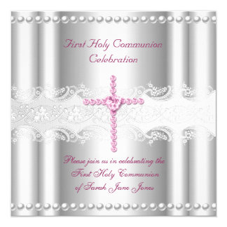 "Girl First Holy Communion Silver Lace Pink Pearl 5.25"" Square Invitation Card"