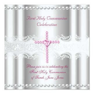 Girl First Holy Communion Silver Lace Pink Pearl Custom Invites