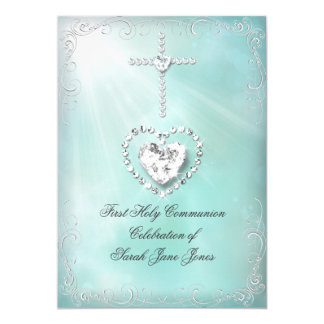 "Girl First Holy Communion Teal Blue Heavenly 5"" X 7"" Invitation Card"