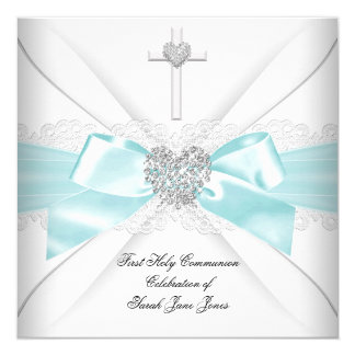 "Girl First Holy Communion Teal White Silver Heart 5.25"" Square Invitation Card"
