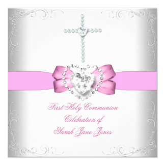 "Girl First Holy Communion White Pink 5.25"" Square Invitation Card"