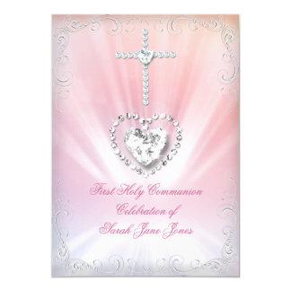 "Girl First Holy Communion White Pink Heavenly 2 5"" X 7"" Invitation Card"