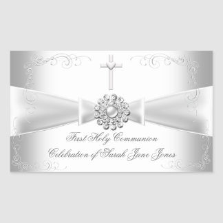 Girl First Holy Communion White Silver Sticker