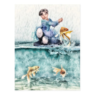 Girl Fishing For Magical Fish Postcard