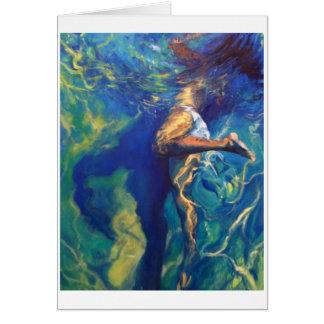 Girl Floating to Top of the Pool Card