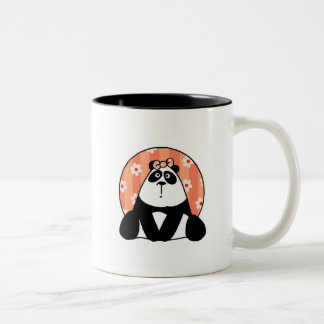 girl flower panda Two-Tone coffee mug