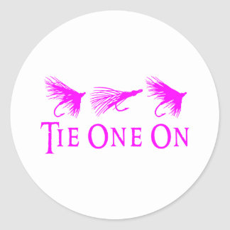 GIRL FLY FISHING CLASSIC ROUND STICKER