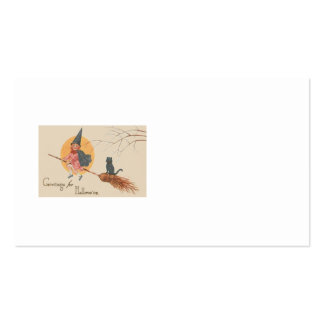 Girl Flying Witch Black Cat Full Moon Pack Of Standard Business Cards