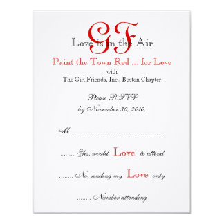 """Girl Friends Night Out RSVP Cards Red 4.25"""" X 5.5"""" Invitation Card"""