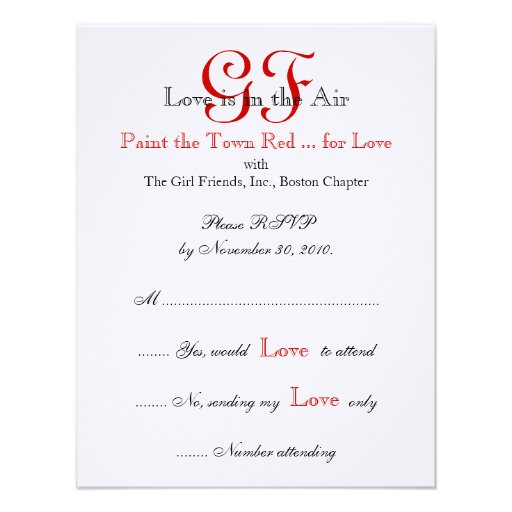 Girl Friends Night Out RSVP Cards Red Announcement