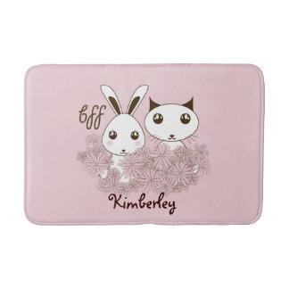 Girl Friendship Cute Animal Kids Name Pink Bath Mat