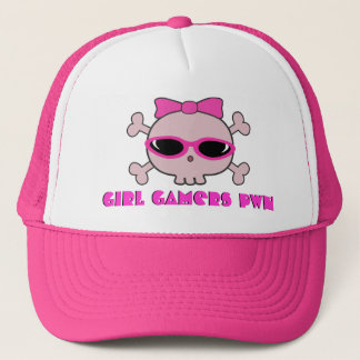 Girl Gamers pwn Skull With Shades Trucker Hat