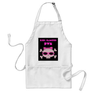 Girl Gamers pwn Skull With Sunglasses Adult Apron
