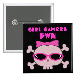 Girl Gamers pwn Skull With Sunglasses Pins
