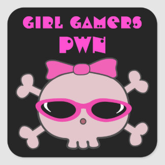 Girl Gamers pwn Skull With Sunglasses Square Sticker