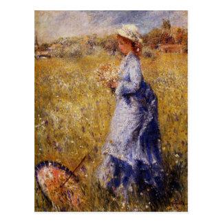 Girl Gathering Flowers by Renoir Postcard