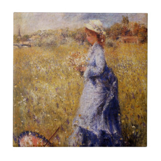 Girl Gathering Flowers by Renoir Tile