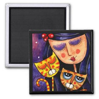 Girl & Ginger Cats - Magnet